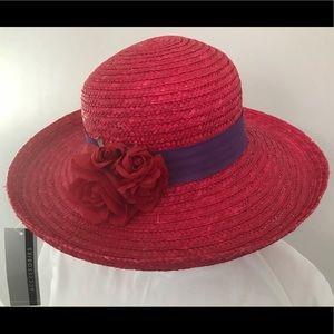 Red Straw sun hat w/ purple headband & rose decor